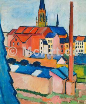 Marienkirche in Bonn mit Häusern -