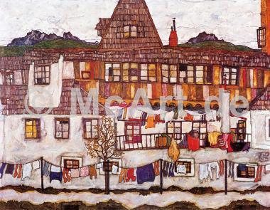 Häuser mit trockener Wäsche -