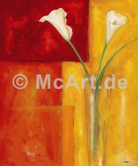 Callas auf warmem Rot -