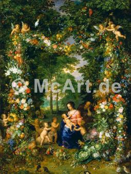 Hl. Familie in einem Blumenkranz -