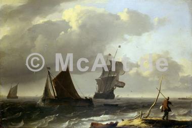 Bewegte See mit Schiffen -