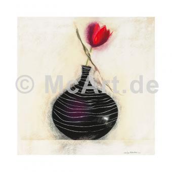 Tulpen in schwarzer Vase I
